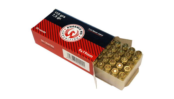 PHOENIX - NEW 9MM 115 GR FMJ - 50 CT